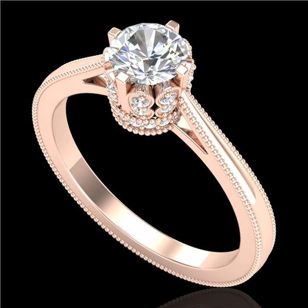 0.81 ctw VS/SI Diamond Solitaire Art Deco Ring 18k Rose Gold - REF-140X9A