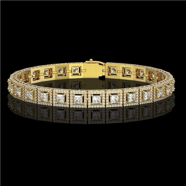 10.8 ctw Princess Cut Diamond Micro Pave Bracelet 18K Yellow Gold - REF-923G9W
