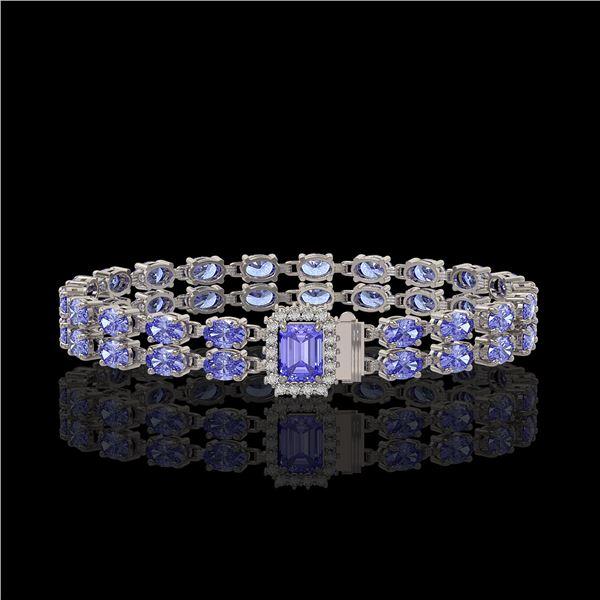 16.08 ctw Tanzanite & Diamond Bracelet 14K White Gold - REF-236G4W