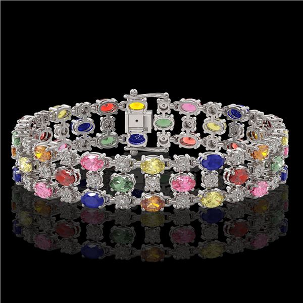 18.16 ctw Multi Color Sapphire & Diamond Row Bracelet 10K White Gold - REF-250R9K