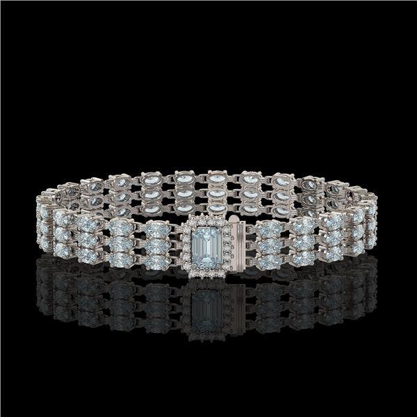 26.02 ctw Sky Topaz & Diamond Bracelet 14K White Gold - REF-318W2H