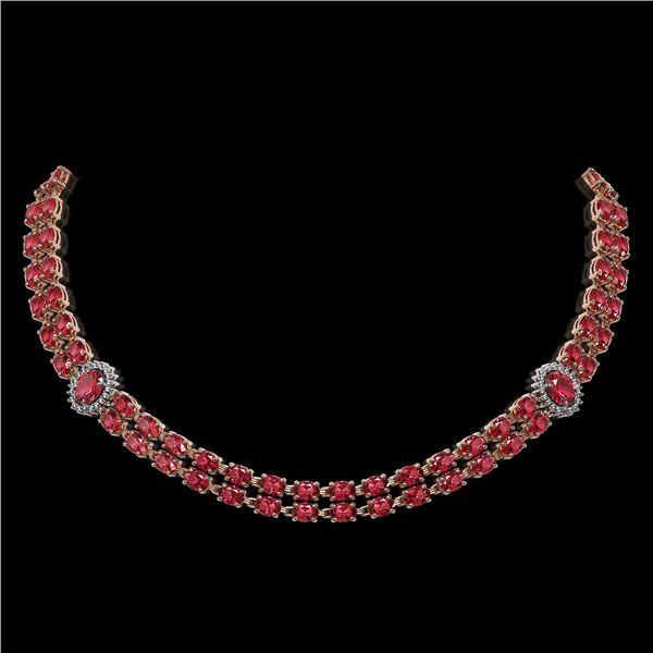 37.23 ctw Tourmaline & Diamond Necklace 14K Rose Gold - REF-527R3K