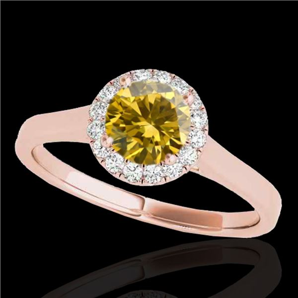 1.11 ctw Certified SI/I Fancy Intense Yellow Diamond Ring 10k Rose Gold - REF-184K3Y