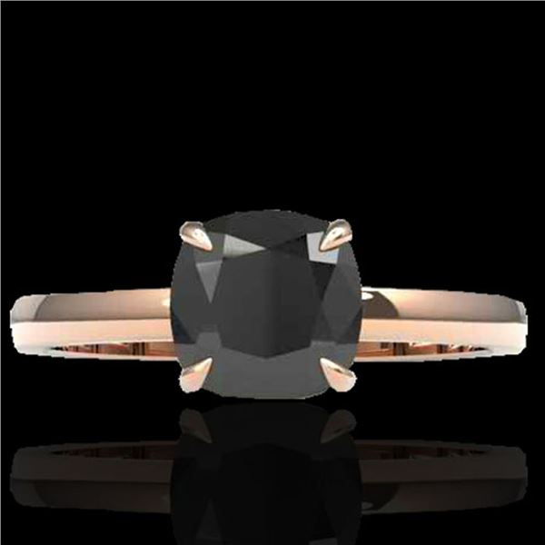 3 ctw Cushion Cut Black Diamond Engagment Ring 14k Rose Gold - REF-103N6F