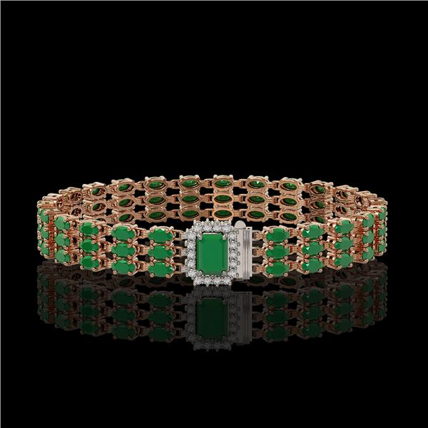 28.74 ctw Emerald & Diamond Bracelet 14K Rose Gold - REF-318G2W