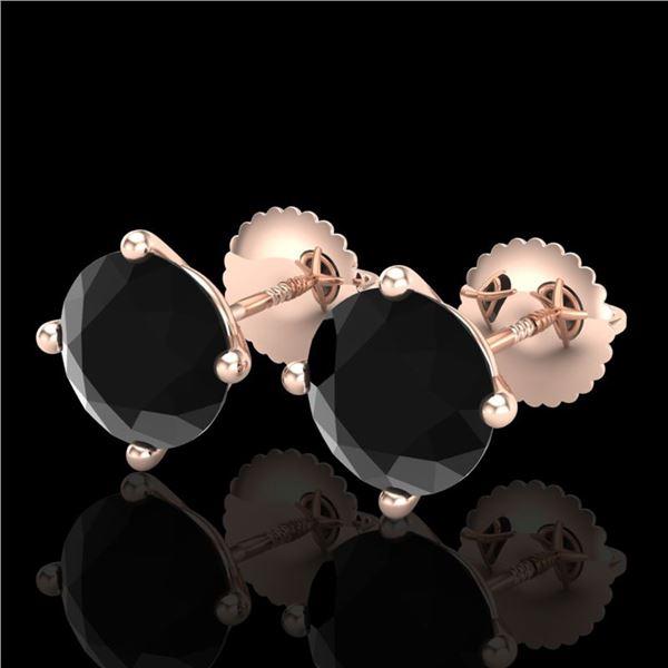 3.01 ctw Fancy Black Diamond Art Deco Stud Earrings 18k Rose Gold - REF-66Y8X