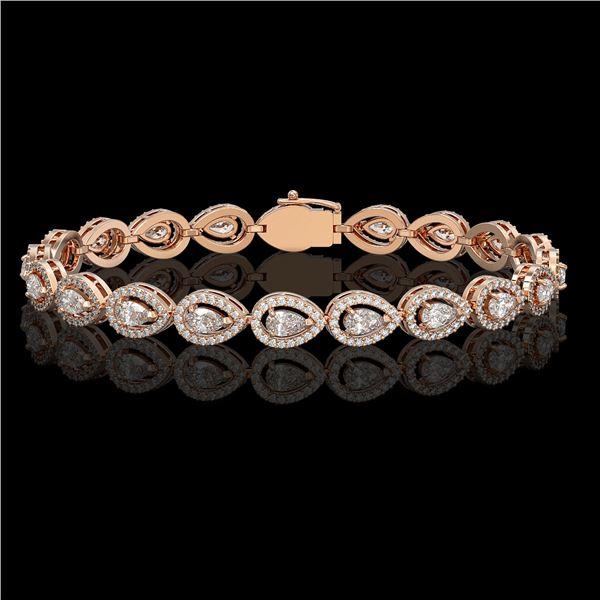 7.29 ctw Pear Cut Diamond Micro Pave Bracelet 18K Rose Gold - REF-633W8H