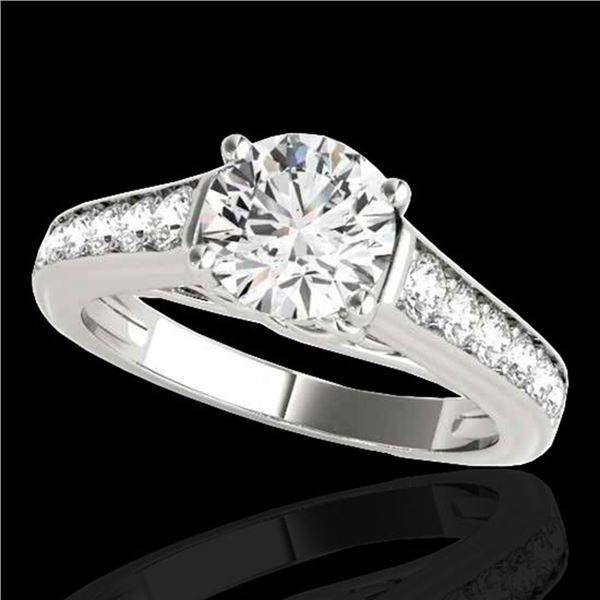 1.5 ctw Certified Diamond Solitaire Ring 10k White Gold - REF-204H5R