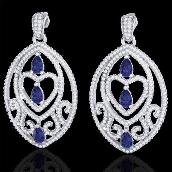 7 ctw Tanzanite & Micro Pave Diamond Heart Earrings 18k White Gold - REF-418G2W