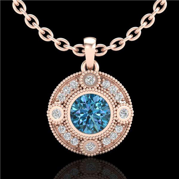 1.01 ctw Fancy Intense Blue Diamond Art Deco Necklace 18k Rose Gold - REF-119H3R