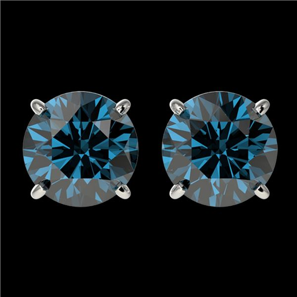 2.11 ctw Certified Intense Blue Diamond Stud Earrings 10k White Gold - REF-181F6M