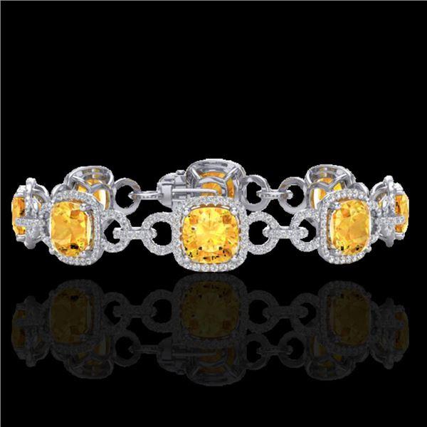 30 ctw Citrine & Micro VS/SI Diamond Certified Bracelet 14k White Gold - REF-368W9H