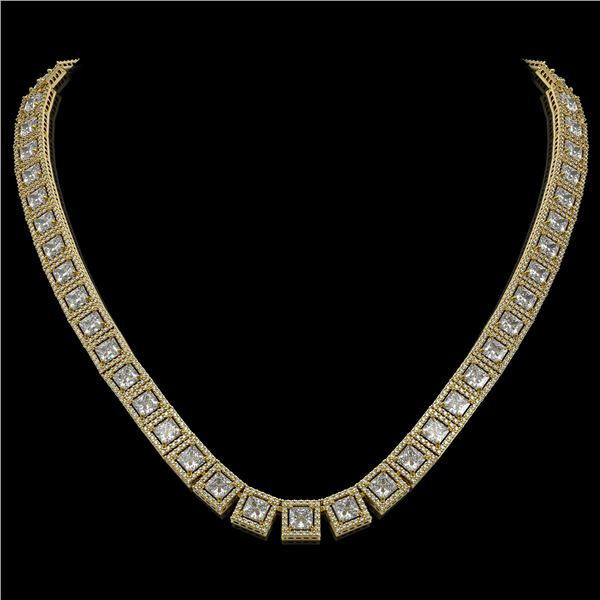 36.30 ctw Princess Cut Diamond Micro Pave Necklace 18K Yellow Gold - REF-4704X5A
