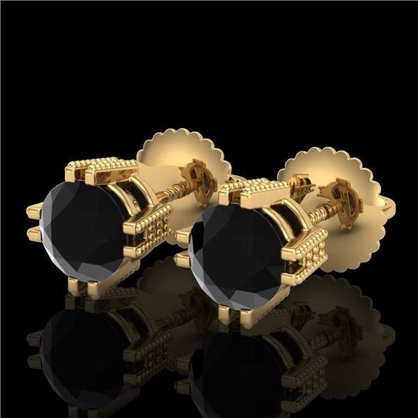 1.07 ctw Fancy Black Diamond Art Deco Stud Earrings 18k Yellow Gold - REF-85R5K