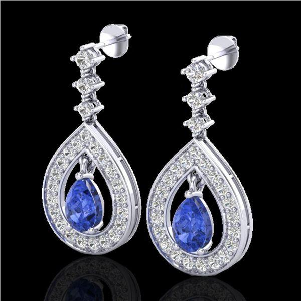 2.25 ctw Tanzanite & Micro Pave VS/SI Diamond Earrings 14k White Gold - REF-109N3F