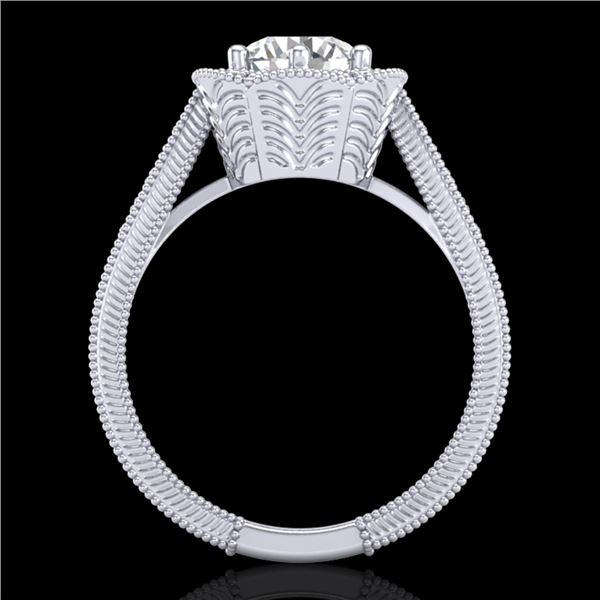 1.33 ctw VS/SI Diamond Solitaire Art Deco Ring 18k White Gold - REF-418M2G