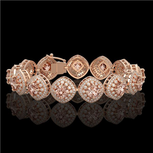 31.35 ctw Morganite & Diamond Victorian Bracelet 14K Rose Gold - REF-1063X3A
