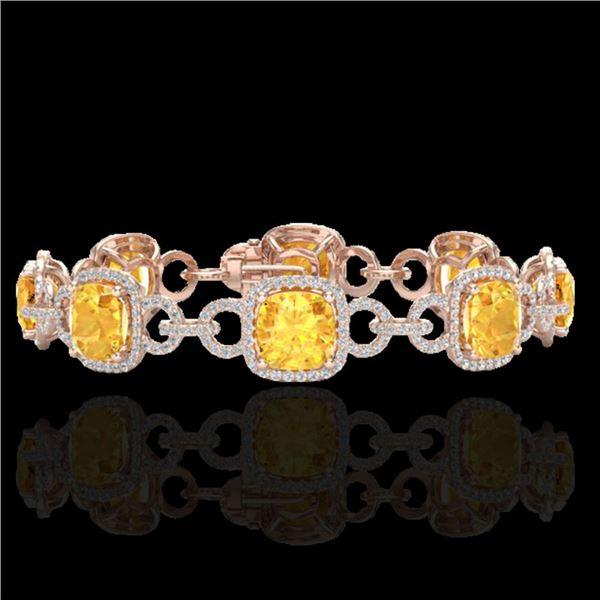 30 ctw Citrine & Micro VS/SI Diamond Certified Bracelet 14k Rose Gold - REF-368R9K