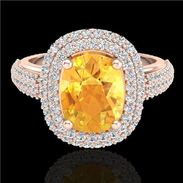 3.50 ctw Citrine & Micro Pave VS/SI Diamond Ring 14k Rose Gold - REF-98Y2X