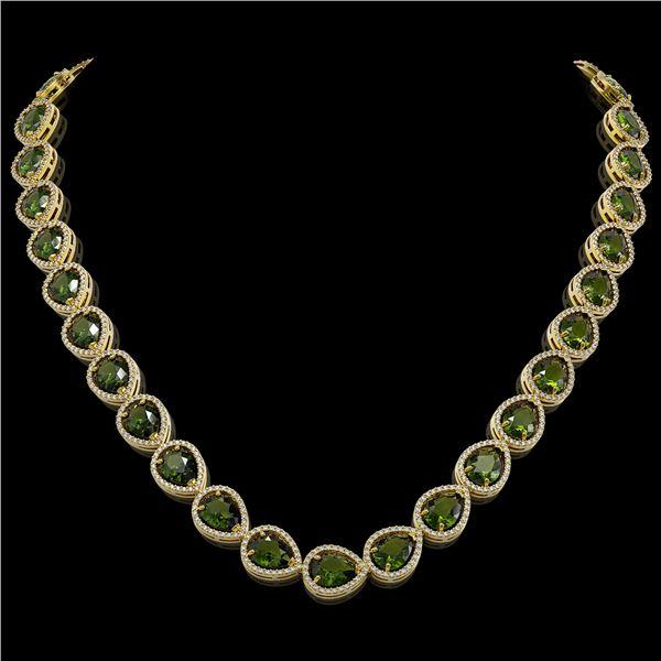 41.6 ctw Tourmaline & Diamond Micro Pave Halo Necklace 10k Yellow Gold - REF-768A4N