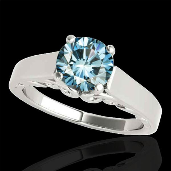1.25 ctw SI Certified Fancy Blue Diamond Solitaire Ring 10k White Gold - REF-177N3F