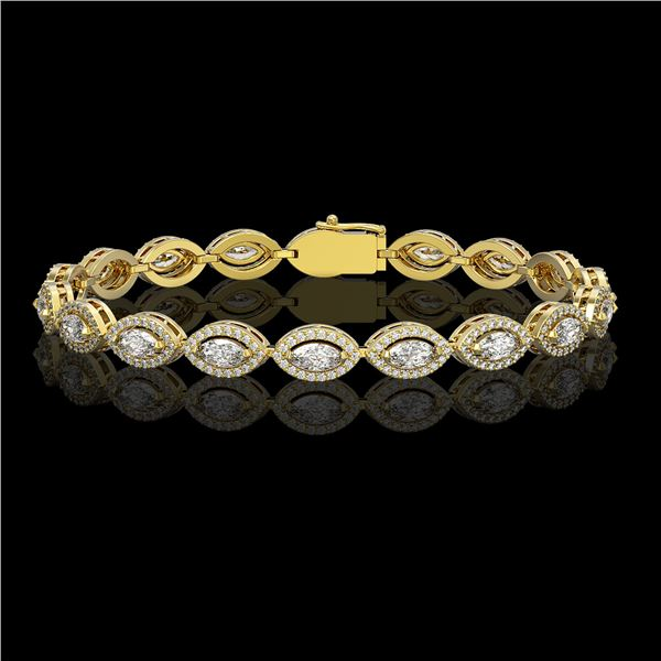 6.91 ctw Marquise Cut Diamond Micro Pave Bracelet 18K Yellow Gold - REF-599M6G