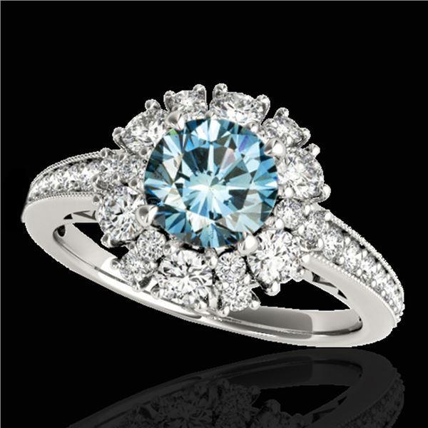 2.16 ctw SI Certified Fancy Blue Diamond Halo Ring 10k White Gold - REF-166M4G