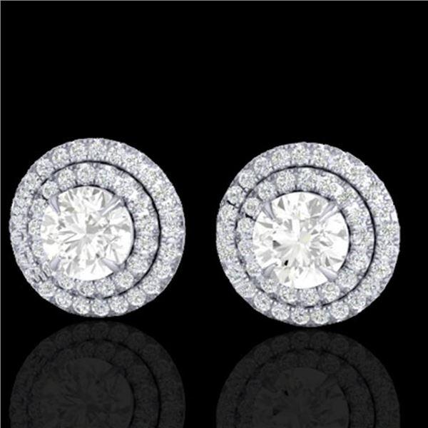 2 ctw Micro Pave VS/SI Diamond Certified Stud Earrings 18k White Gold - REF-263W6H