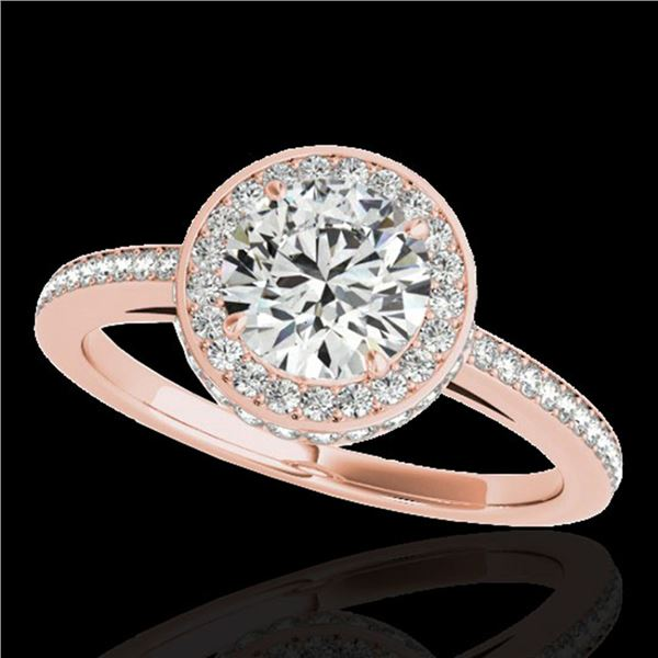1.55 ctw Certified Diamond Solitaire Halo Ring 10k Rose Gold - REF-197R8K