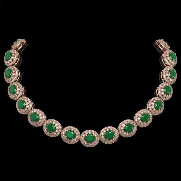 111.75 ctw Emerald & Diamond Victorian Necklace 14K Rose Gold - REF-3094R9K