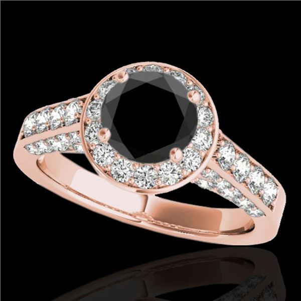 2.56 ctw Certified VS Black Diamond Solitaire Halo Ring 10k Rose Gold - REF-90A2N