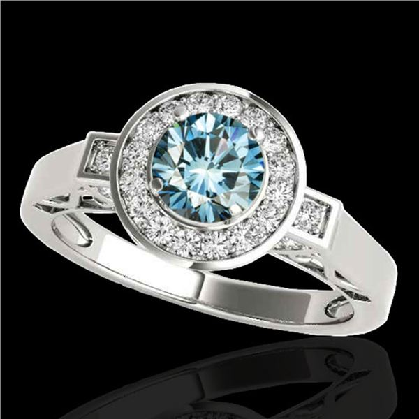 1.75 ctw SI Certified Fancy Blue Diamond Halo Ring 10k White Gold - REF-167N8F