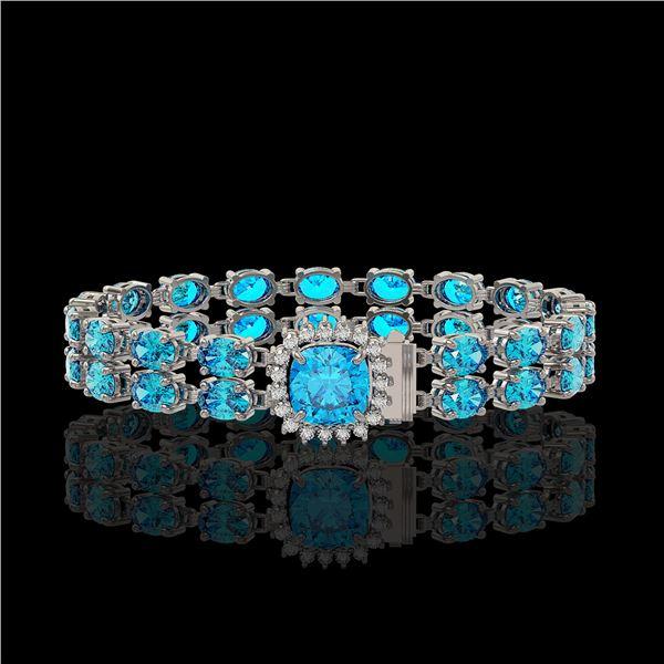 17.67 ctw Swiss Topaz & Diamond Bracelet 14K White Gold - REF-178G2W