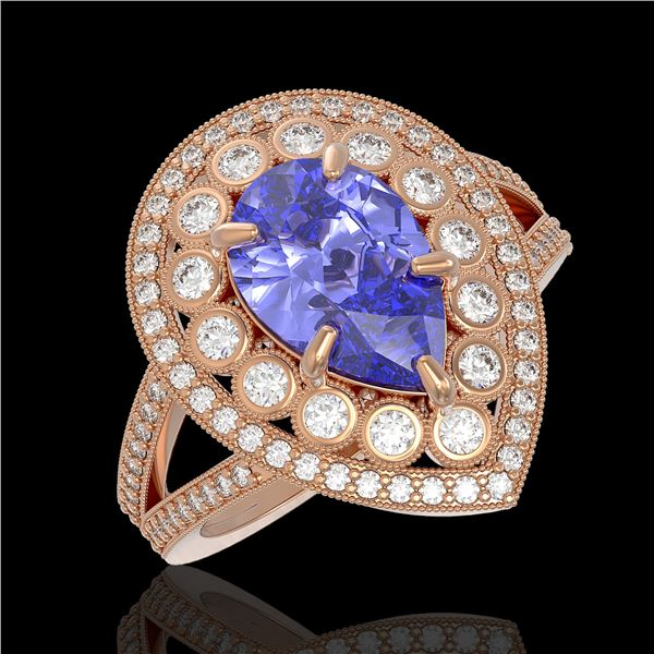 4.52 ctw Certified Tanzanite & Diamond Victorian Ring 14K Rose Gold - REF-245N5F