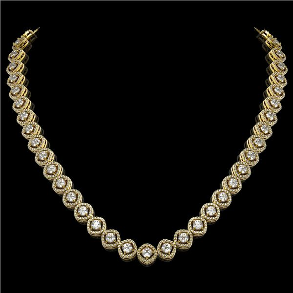 18.43 ctw Cushion Cut Diamond Micro Pave Necklace 18K Yellow Gold - REF-1605N8F