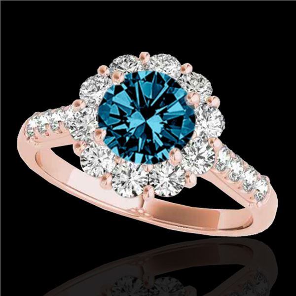 2 ctw SI Certified Fancy Blue Diamond Solitaire Halo Ring 10k Rose Gold - REF-177R3K
