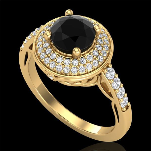 1.7 ctw Fancy Black Diamond Engagment Art Deco Ring 18k Yellow Gold - REF-143M6G