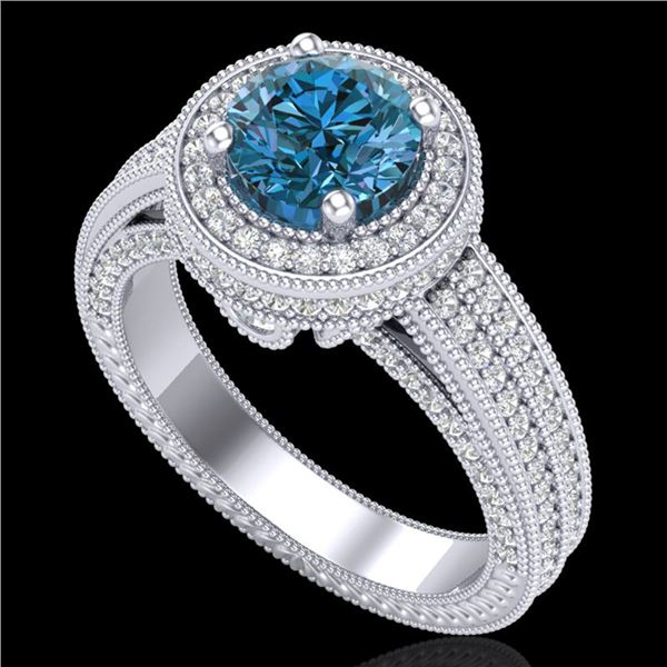 2.8 ctw Intense Blue Diamond Engagment Art Deco Ring 18k White Gold - REF-327R3K