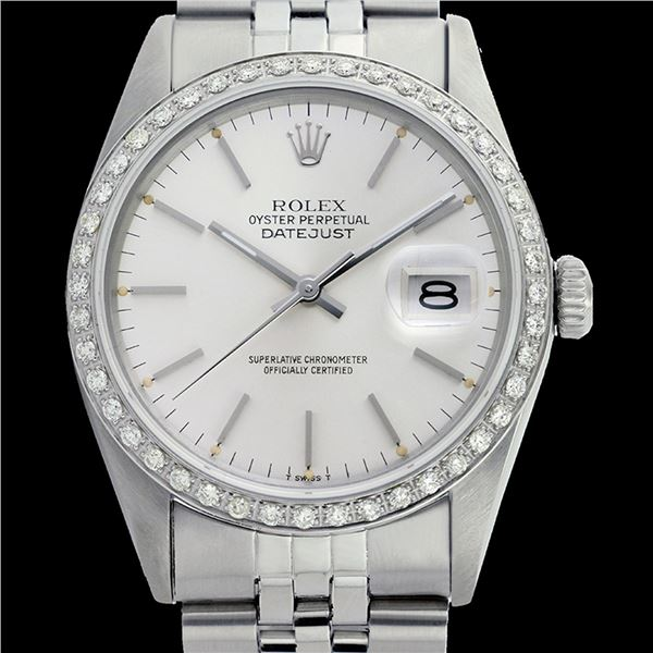 Rolex Ladies Stainless Steel, Index Bar Dial with Diamond Bezel, Sapphire Crystal