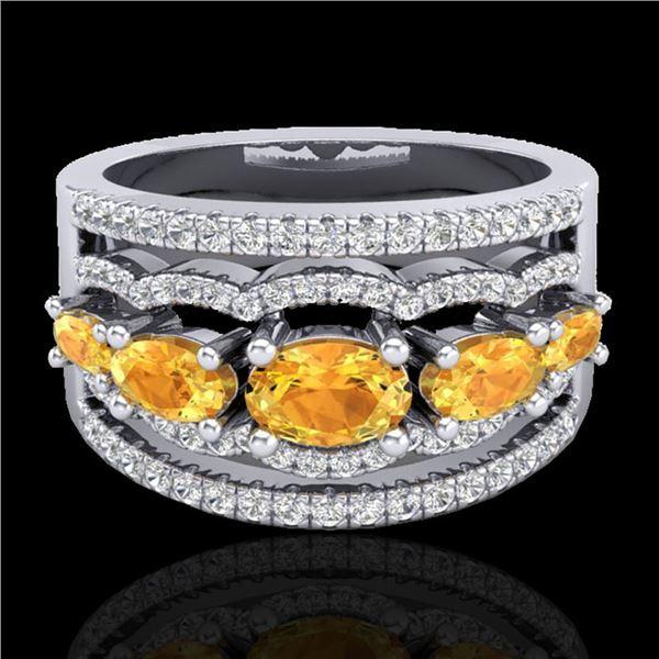 2.25 ctw Citrine & Micro Pave VS/SI Diamond Designer Ring 10k White Gold - REF-81X8A