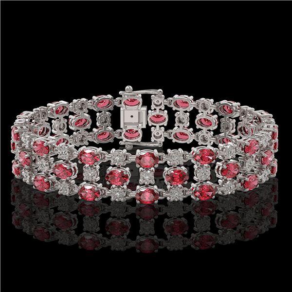 15.64 ctw Tourmaline & Diamond Row Bracelet 10K White Gold - REF-245H5R