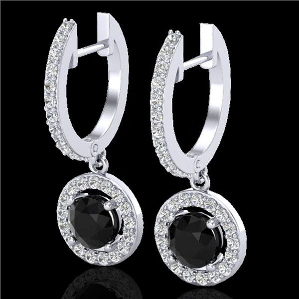 1.75 ctw Micro Pave VS/SI Diamond Certified Earrings 18k White Gold - REF-98N2F