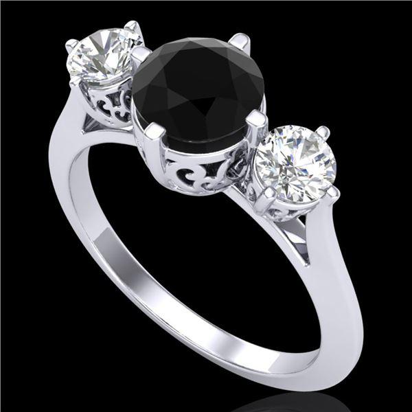 1.51 ctw Fancy Black Diamond Art Deco 3 Stone Ring 18k White Gold - REF-134R5K