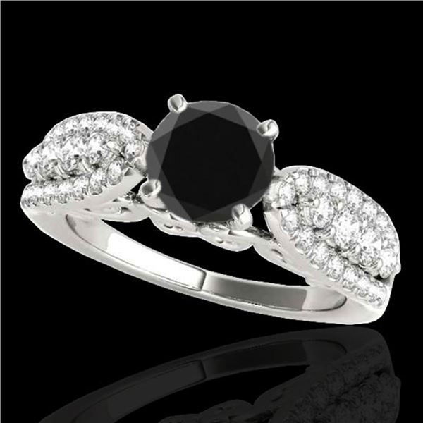 2 ctw Certified VS Black Diamond Solitaire Ring 10k White Gold - REF-71A8N