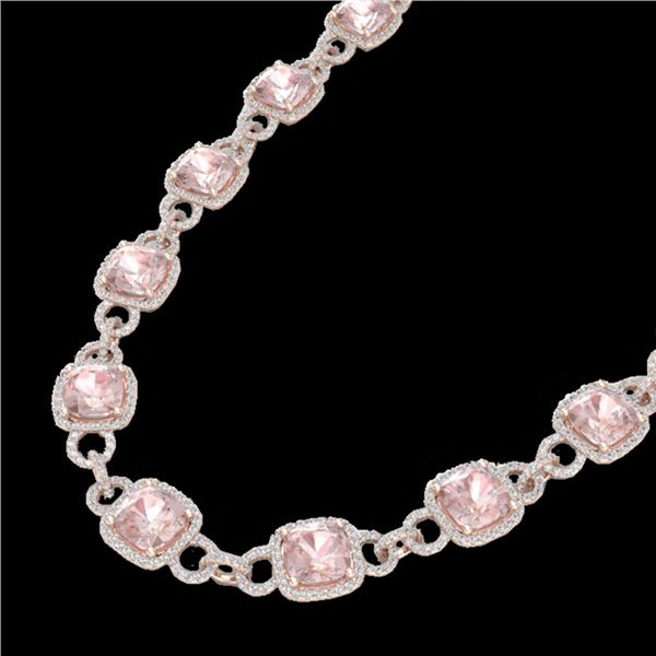 49 ctw Morganite & Micro Diamond Eternity Necklace 14k Rose Gold - REF-1150G9W