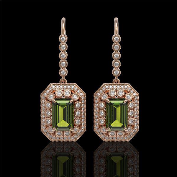 13.4 ctw Tourmaline & Diamond Victorian Earrings 14K Rose Gold - REF-375A3N