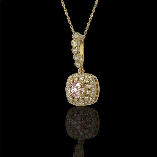 2.15 ctw Morganite & Diamond Victorian Necklace 14K Yellow Gold - REF-86W8H