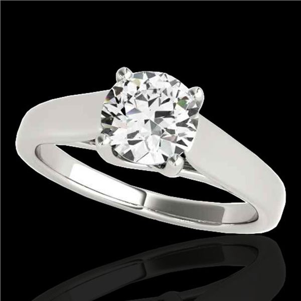 1 ctw Certified Diamond Solitaire Ring 10k White Gold - REF-182A8N