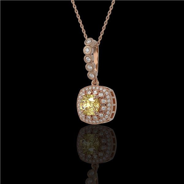 1.95 ctw Canary Citrine & Diamond Victorian Necklace 14K Rose Gold - REF-69A6N