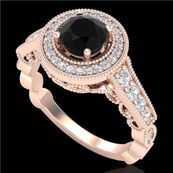 1.12 ctw Fancy Black Diamond Engagment Art Deco Ring 18k Rose Gold - REF-125W5H